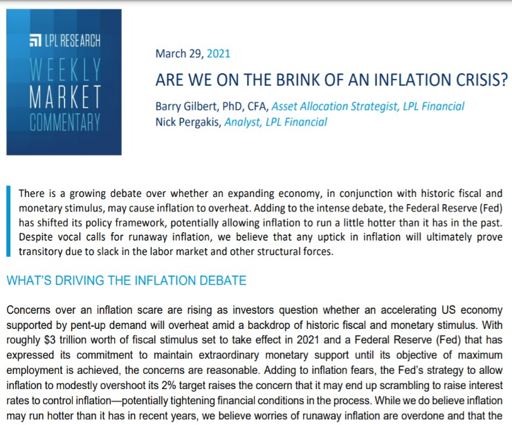 The Brink of an Inflation Crisis? | Weekly Market Commentary | March 29, 2021