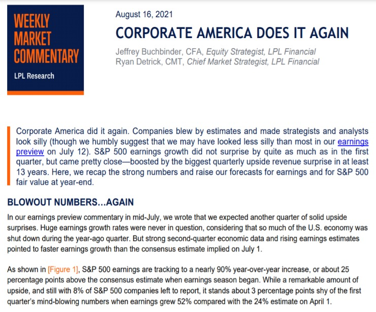Corporate America Does It Again   Weekly Market Commentary   August 16, 2021